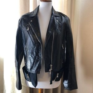 Phillip Lim 3.1 Black Leather Silk Jacket Moto 4